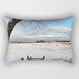 Frozen Bay Post-Blizzard in South Portland, Maine (1) Rectangular Pillow