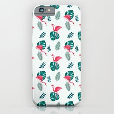 pink flamingo bird on blue and green tropical pattern iPhone 6s Slim Case
