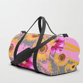 YELLOW SUNFLOWERS & PURPLE DAHLIAS GREY ABSTRACT Duffle Bag