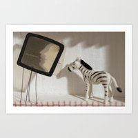 Zebra and television Art Print