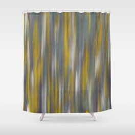 Chartreuse and Grey Woven Textile Design Shower Curtain