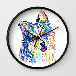 Australian Shepherd Watercolor Painting by Lisa Whitehouse Wall Clock