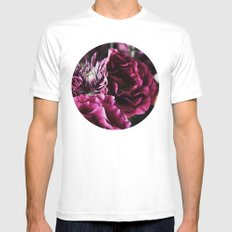 Pink Flowers MEDIUM White Mens Fitted Tee