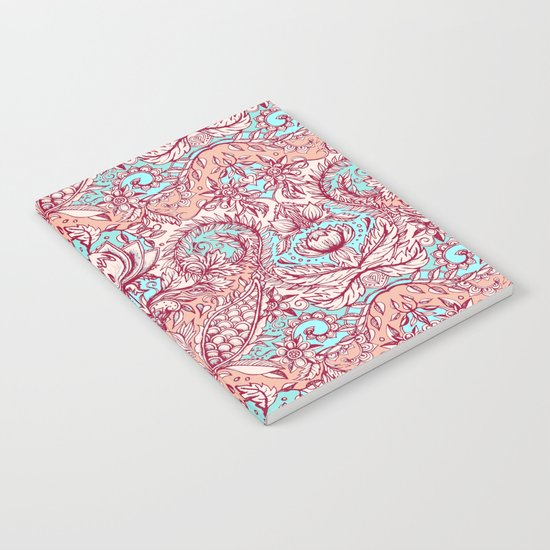 Natural Rhythm - a hand drawn pattern in peach, mint & aqua Notebook