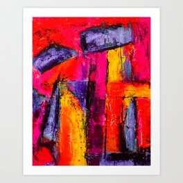 Dream in Colours: a colorful abstract piece in purple, pinks, yellow by KKingCreations Art Print