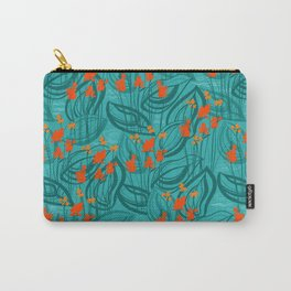 Pattern with red water flowers on turquoise green background Carry-All Pouch