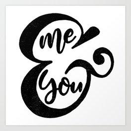 Me&You Script - Black Art Print