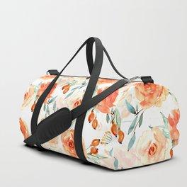 Living Coral Autumnal Roses Duffle Bag