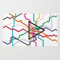subway Area & Throw Rugs featuring Angular Subway by Abstract Graph Designs