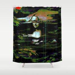 Mona Lisa Glitch Shower Curtain