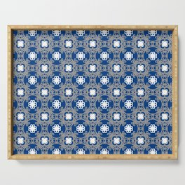 Blue white and grey square floral Serving Tray