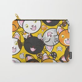 Smiley Cat Face Pattern - Cat Lovers Carry-All Pouch