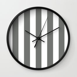 Nickel grey -  solid color - white vertical lines pattern Wall Clock
