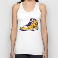 lakers Tank Tops featuring Jordan 1 mid (LA Lakers) by Pancho the Macho