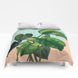Monstera on mint and pink Comforters