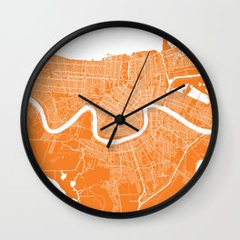 New Orleans map orange Wall Clock