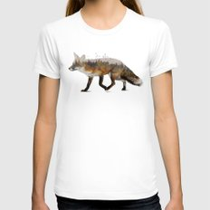 Red Fox White SMALL Womens Fitted Tee