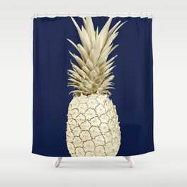 Pineapple Pineapple Gold on Navy Blue Shower Curtain