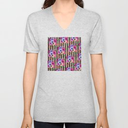Fragrant Floral Bouquets on Striped Pattern Unisex V-Neck