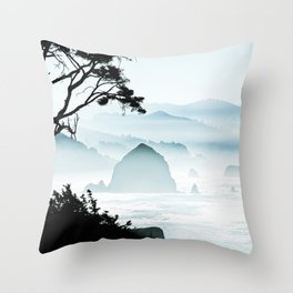 Misty Canon Beach Scenic from Ecola State Park Throw Pillow