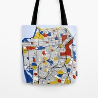 san francisco Tote Bags featuring San Francisco by Mondrian Maps