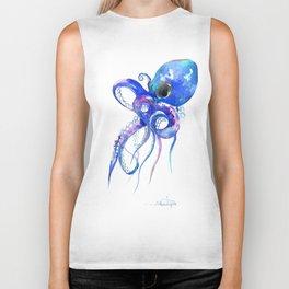 Octopus, blue purple marine colors beach house octopus artwork Biker Tank