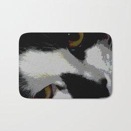 Black white cat Bath Mat
