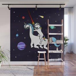 Unicorn Riding Dinocorn In Space Wall Mural