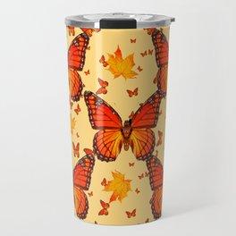 AUTUMN LEAVES & MONARCH BUTTERFLIES ART Travel Mug