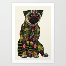 pug love ivory Art Print