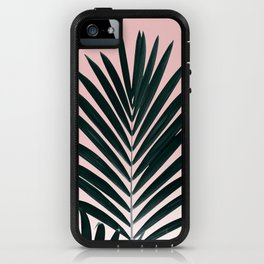 Tropical Green palm tree leaf blush pink gradient photography iPhone Case