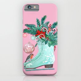Christmas Ice Skates with Holly, Robins, Poinsettia, Candy Canes and baubles iPhone Case