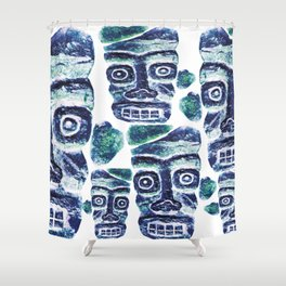 Tribal Face Pattern Shower Curtain