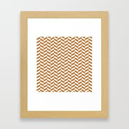 Copper Orange Herringbone Pattern Framed Art Print