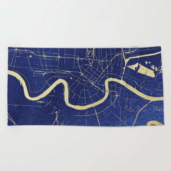New Orleans Blue and Gold Map Beach Towel