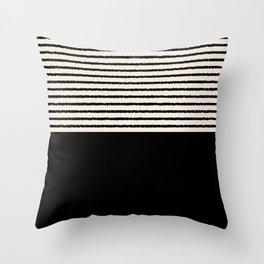 Texture - Black Stripes Blocks Throw Pillow