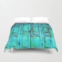 doors Duvet Covers featuring Turquoise Doors © by Ethna Gillespie