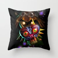 majoras mask Throw Pillows featuring Majoras Mask by Max Grecke