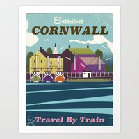 travel poster Art Prints featuring Cornwall vintage travel poster by Nick's Emporium