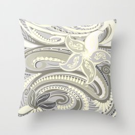 Polynesian Tribal Butter Yellow Threads Throw Pillow
