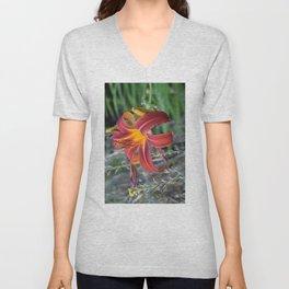 Orange Lily Unisex V-Neck