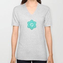 Vintage Scratched Teal Blue Lotus Flower Yoga Om Unisex V-Neck
