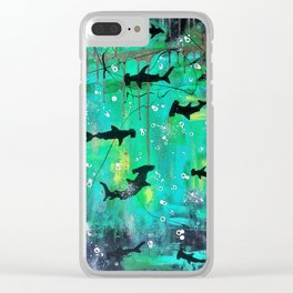 Teal hammerheads Clear iPhone Case