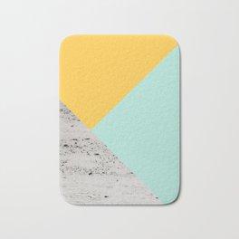 Yellow and Mint meets Concrete Geometric #1 #minimal #decor #art #society6 Bath Mat