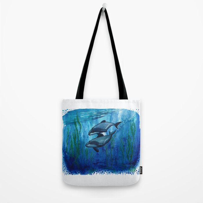 """""""Maui's Magic"""" by Amber Marine ~ (Maui's Dolphins) Watercolor Painting, (Copyright 2016) Tote Bag"""