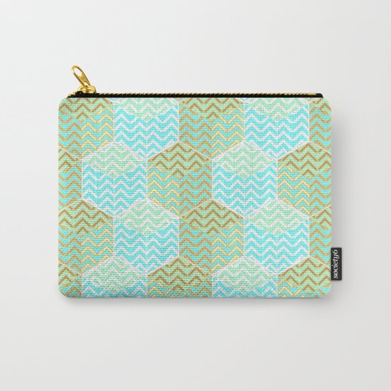 Cubes in teal and golden chevron Carry-All Pouch