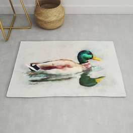 Mallard Duck Bird Wildlife Animal Watercolor Artistic Painting Rug