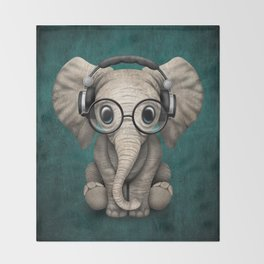 Cute Baby Elephant Dj Wearing Headphones and Glasses on Blue Throw Blanket