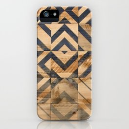 Chevron Scatter Black and Wood iPhone Case