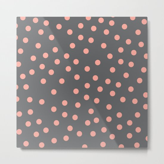 Simply Dots Salmon Pink on Storm Gray Metal Print